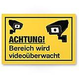 Bereich Videoüberwacht Kunststoff Schild (gelb, 30 x 20 cm) - Achtung/Vorsicht Videoüberwachung - Hinweis/Hinweisschild Videoüberwacht - Warnschild/Warnhinweis