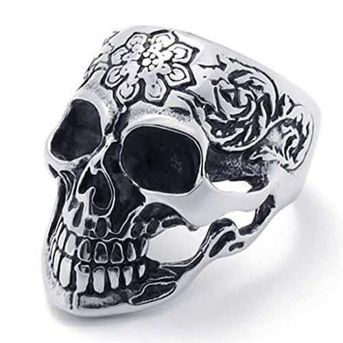 Beydodo Edelstahl Ring für Männer Schädel Totenkopf Silberringe Ringgröße67 (21.3) (Billig Einfach Paare Kostüme)