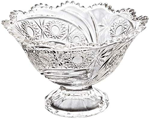 Bleifreies Glas Obstschale Eisschale Wohnzimmer Kreative Trockenfrüchte Gericht Dessertteller Snack Teller Trompete (Farbe: Klar) -