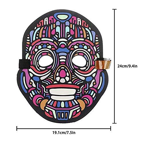 MMLC LED Beleuchtung Soundkontroll Maske Halloween Scary Cosplay Maske Leuchtenden EL Draht Grimasse Leuchtmaske Fest Karneval Christmas Party Kostüm (A)