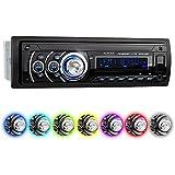 XOMAX XM-RSU259BT Autoradio aucun lecteur CD + Connexion Bluetooth + 7 couleurs d'éclairage (rouge, bleu, vert...) + Port USB (jusqu'à 128 GB) et fente pour cartes SD (jusqu'à 128 GB) pour fichiers MP3 et WMA + Entrée AUX + Protection antivol: La façade est amovible + Dimensions standard DIN simple (1DIN) + Télécommande, Housse de rangement et tiroir métallique inclus
