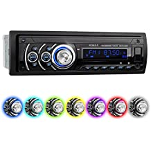 XOMAX XM-RSU259BT Autoradio no hay unidad de CD DIN 1 (single DIN) Tamaño de montaje estándar + MOSFET 4x60 vatios + AUX-IN + 7 ajustables colores de iluminación: azul, rojo, verde... + WMA + MP3 + USB y SD (128 GB por Medio) + Bluetooth manos libres y música + Protección contra robo (con Funda protectora) + ISO + antena de radio