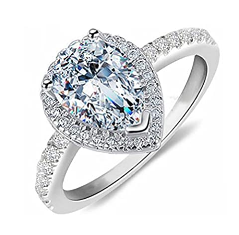 PEAR9 Top Grade 2.5 Carat Radiant Pear Cut SONA NSCD Simulated Diamond Ring Halo Design Solid 925 Silver