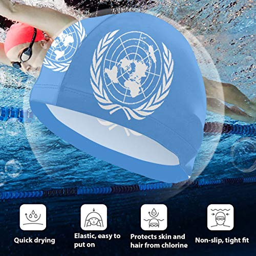 BigHappyShop Kids Swimming Cap Flag of The United Nations Silicone Waterproof Swim Cap Bathing Hair Quick Drying for Kids (Nations-flag United)