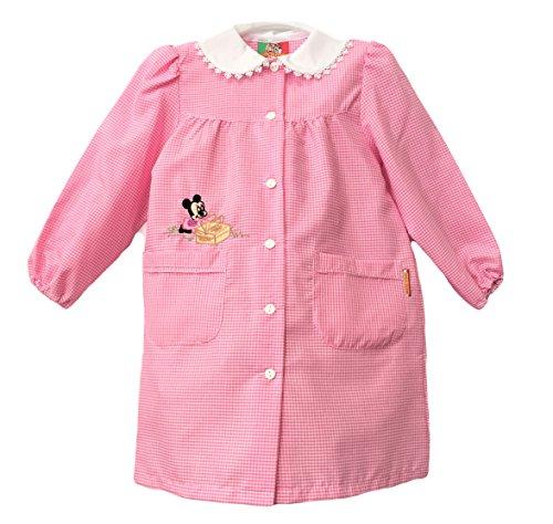 Confezioni mariano grembiule scuola made in italy - asilo bambina colore quadretto rosa -ricamo minnie - abbottonatura centrale con bottoni, colletto bianco con ricamo.