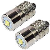 HQRP 2 Stück LED Konvertierungs Upgrade Lampe für Glühbirne E10 Ersatz passt Taschenlampen/Laternen / Lötpistolen/Scheinwerfer mit HQRP Untersetzer