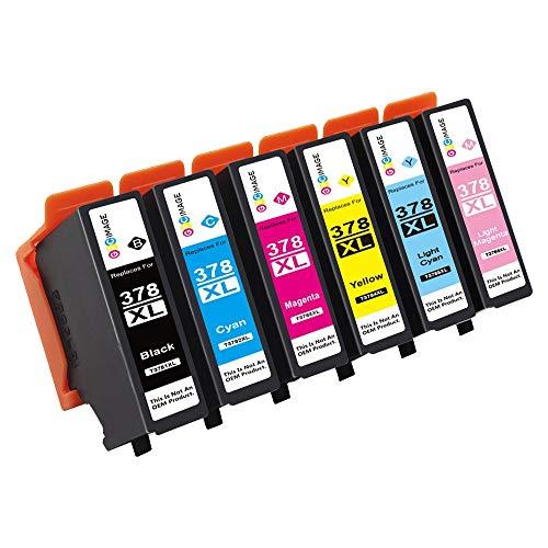 GPC Image 378XL Kompatibel Druckerpatronen Ersatz für Epson 378XL-T3781XL T3782XL T3783XL T3784XL T3785XL T3786XL 6 Pack für Epson Expression Photo XP-8500, XP-8505 (1B/1C/1M/1Y/1LC/1LM) -