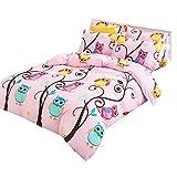 Weihnachten Geburtstag Geschenk Eule Karikatur Bettbezug Set Luxus 220x230cm Bettwäsche Set mit Reißverschluss (220x230cm für 1.8M Bett)