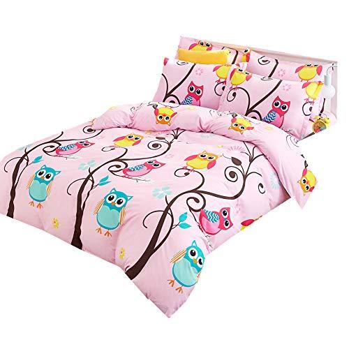 Mädchen Junge Baby Kind Eule Karikatur Bettbezug Set 3 Teilig Tröster Schlafzimmer Bettwäsche Set mit 2 Teilig Kissenbezug (135x200cm für 1.2M Bett) (Schlafzimmer Für Mädchen Bettwäsche Eule)