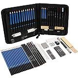40pcs artistes Ensemble de crayons de dessin pour artiste professionnel Sketch Ensemble d'outils avec étui de transport Graphite Pastel Crayons de charbon de bois et accessoires 5H au 8B