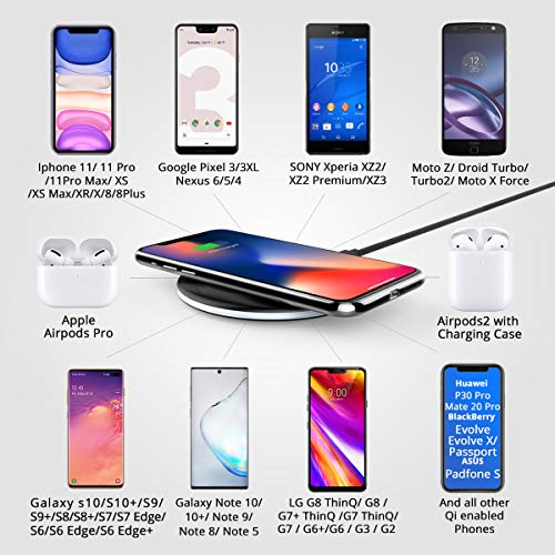 RAEGR Arc 500 Qi-Certified 10W/7.5W Fast Wireless Charger with FireProof ABS for iPhone11/11Pro/11Pro Max/Xs/Xs MAX/XR/X/8/8Plus,Galaxy S20+/Note10/Note10Plus/S10/S10Plus/S10E/Note9/S9/S9 Plus-Black