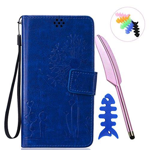 ANNN® Sony Xperia M2 Coque Embossing pissenlit PU Cuir Flip Housse Étui Cover Case Wallet Stand avec Carte de Crédit Fentes + Quill stylet + Pendentif poisson--A01 A07