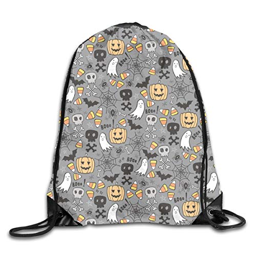 Bags Halloween Doodle with Skulls Bat Pumpkin Spiderweb Ghost On Grey Sport Athletic Gym Sackpack for Men Women ()
