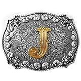 Hebilla Western Letra 3D J con auténtico Gold edition, Hebilla