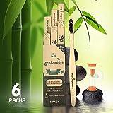 Brosse a dents en bambou, Poils ultra doux, Biodégradable avec du charbon organique avec sablier 2 minutes. Ergonomique et Vegan. Lot de 6 (Lot de 6)