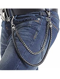 Atoz Prime Biker Men PU Leather Metal Double Link Wallet Chains Biker Trucker Punk Jean Key Chain
