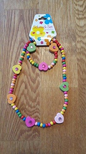 Variante mit Herzen: 2 tlg. Schmuck-Set, bestehend aus Kette + Armband – für Kinder aus Holz, handgearbeitet! Schmuck / Holzkette Perlenkette mit Holzperlen, Glitzersteinchen und Herzen für Mädchen –