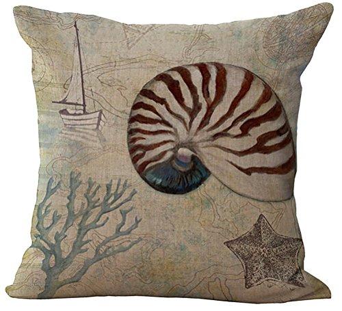 Sea World-Cuscino con federa in cotone e lino Copriletto forma Pillowslip-Fodera per cuscino, con zip, gilet, motivo casa federa per poltrona, Spiral Shell and Coral, Cover WITHOUT Pillow Insert