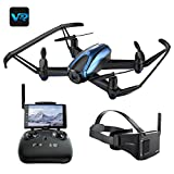 Drone with VR Glasses, UDIRC 720P HD Live Camera Drone with Wireless RTF 4 Channel 5.8Ghz FPV LCD Screen Monitor 6-Gyro(360 Degree Flip) Headless Mode & Altitude Hold Function