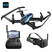 Drone with VR Glasses, UDIRC 720P HD Live Camera Drone with Wireless RTF 4 Channel 5.8Ghz FPV LCD Screen Monitor 6-Gyro(360 Degree Flip) Headless Mode & Altitude Hold Function from UDIRC