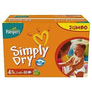 Pampers Windeln Simply Dry Gr.4 Maxi 7-18kg Jumbopack, 80 Stück