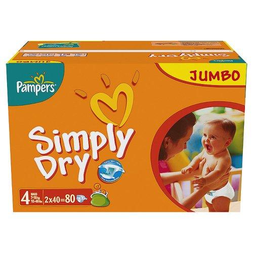 Preisvergleich Produktbild Pampers Windeln Simply Dry Gr.4 Maxi 7-18kg Jumbopack, 80 Stück