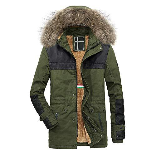 KPPONG 2018 Herrenjacke Solide Coat Winter Warm Pockets Kordelzug Kapuze Reißverschluss Dickes Fleece Baumwolle Schwarz XX-Large