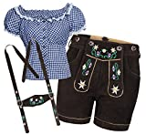 Trachtenset Damen Trachten Lederhose braun kurz mit Stickereien blau weiß kariert 38-38