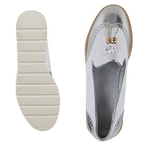 napoli-fashion Bequeme Damen Slippers Tassel Loafer Lack Metallic Schuhe Quasten Profilsohle Flats Blumen Glitzer Freizeitschuhe Jennika Silber Silber
