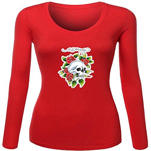 Fashion Ed Hardy long sleeve Tops T shirts -  Maglia a manica lunga  - Donna Red Large
