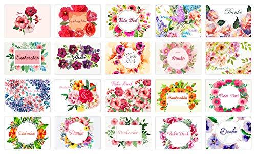Hochwertiges Dankeskarten Set (20 Karten + 20 Umschläge) für Hochzeit, Einschulung, Taufe, Geburt, Schulanfang - Danke sagen - Dankeschön Karten mit Blumen - Hilfe, Kollegen, Hebamme, Baby