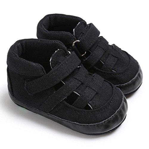 OverDose Unisex-Baby weiche warme Sohle Leder / Baumwolle Schuhe Infant Jungen-Mädchen-Kleinkind Schuhe 0-6 Monate 6-12 Monate 12-18 Monate C-Leinwand-Schwarz
