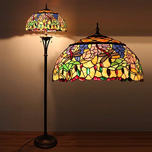 Tiffany 18-Zoll-europäische klassische Glas Dragonfly Stehlampe, Wohnung Wohnzimmer Gartencafé Stehleuchten (Kunst Glas Wechseln)