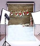 YongFoto 1x1,5m Foto Hintergrund Weihnachten Vinyl Weihnachtsmützen Dekoration Holzwand Schneebedeckter Boden Fotografie Hintergrund Foto Leinwand Kinder Fotostudio 100x150cm