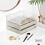 Beautify Jewellery Organiser Acrylic Case Box with 3 Drawers & Soft Grey Velvet Dividers