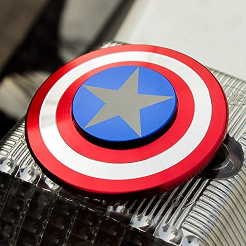 The Anti-Anxiety 360 Spinner Fidget Toy Captain America Marvel Super Heroe Shield Helps Focusing Premium Quality EDC for Kids & Adults Stress Reducer Relieves ADHD Anxiety Boredom Ceramic Cube Bearing - 2
