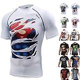 Khroom T-Shirt de Compression de Super-héros pour Homme | Vêtement Sportif à Séchage Rapide pour Fitness, Gym, Course, Musculation | Matériel Extensible et Ventilé Anti Transpiration | Superman
