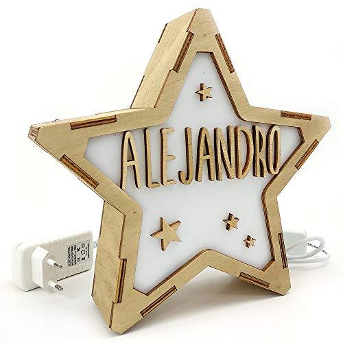 Lolapix Lámpara Luminosa Personalizada con Nombre. Estrella de Madera. Varios diseños. Estrellas