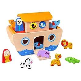 Tooky Toy TKC304 – Arca di Noè in legno con figure di animali, copertura smontabile e slot adattano