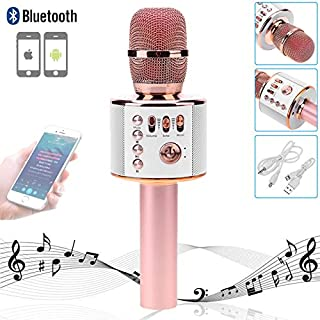 Wireless Karaoke Microphones Bluetooth Speaker, Portable Microphone for Android & iOS Smartphone / PC / Recording / Mac / iPad / Singing and Recording / Laptop / Mobile Phone / Home KTV Outdoor Party Muisc Playing Singing