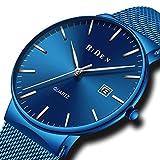 Relojes Azul para Hombre Reloj de Malla Impermeable de Acero Inoxidable para Hombres Fecha...