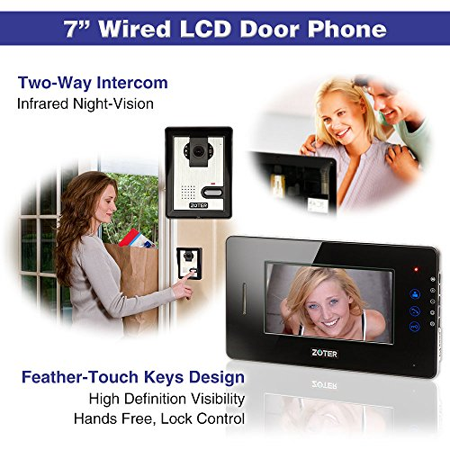 "Generic 7"" inch Touch Key Color LCD Video Door Phone Doorbell Home Entry Intercom System 1 Monitor 2 Camera Night Vision 705 (Black)"