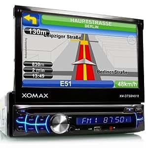 """XOMAX XM-DTSBN918 Autoradio / Moniceiver / Naviceiver mit GPS Navigation + NAVI Software Pocket Navigator 12 (Q3/2013) inkl. Europa Karten (39 Länder) + Bluetooth Freisprecheinrichtung inkl. Telefonbuch-Import + 7"""" / 18 cm Touchscreen Display mit 16:9 HD Auflösung (800 x 480 Pixel) + Codefree DVD / CD Player + USB Anschluss (bis 32 GB!) + SD Speicherkarten Slot (bis 32 GB!) + Multimedia Entertainment: MPEG4, MP3, WMA, AVI, DivX etc. + Anschlüsse für Subwoofer, Rückfahrkamera & Lenkradfernbedienung + Single DIN (1-DIN) Standard Einbaugröße + inkl. Fernbedienung, Einbaurahmen und Blende"""