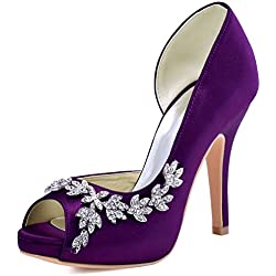 Zapato de Novia con Detalle Brillante en Morado - Varios colores a elegir