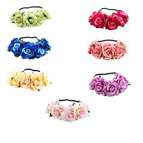 MKHDD Frauen Mädchen Rose Blume Krone Gefälschte Blume Kronen Stirnbänder Kopfstück Mutterschaft Photoshoot Realistische Haar Krone Stirnband Blumenkranz (Braut Champagner Kopfstück)
