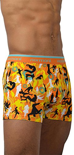 4 x Herren Unterhose Boxershorts Retro Pants Farbiger Mix Schwarz/Gemischt/Neutral Farben Baumwolle mit Elasthan Dance and Style/Orange