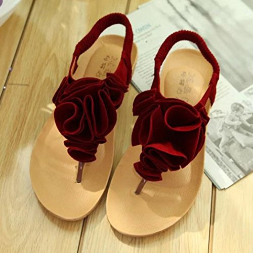 Amlaiworld Donne scarpe da spiaggia fiore estate Boemia dolce Sandali rosso