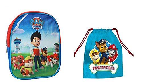 Imagen de  pequeña paw patrol niño 24cm y saquito de guardería niño patrulla canina + set papelería azul
