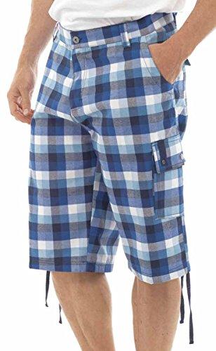 Summer Short pour homme Casual Short à carreaux Pantalon chino Pantalon Pantalon 3/4 M/L/XL/XXL Bleu