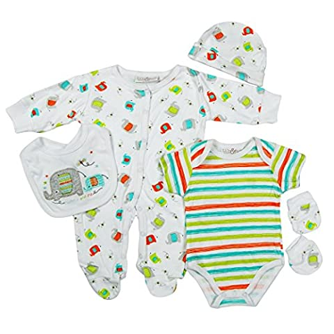 5 piece Layette Set Clothes Packs for Baby Boys Girls Infants Unisex Newborn Outfits Christening Christmas Birthday Gifts Sets from Auntie Grandma 100% cotton 0 0-3 3-6 months Elephant Mummy &